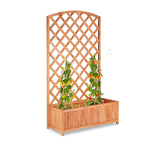 Relaxdays Pflanzkübel mit Rankgitter, XXL, Sichtschutz, Spalier für Kletterpflanzen, Tannenholz, HBT: 152x90x35cm, natur