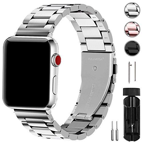 Fullmosa Compatibile Cinturino per Apple Watch 42mm e 38mm,3 Colori Cinturino per iWatch in Acciaio Inossidabile,Cinturino per Apple Watch Series1,2,3,4,5,42mm Argento