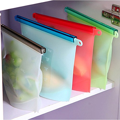 House of Quirk Reusable Silicone Food Preservation Bag, Set of 4, Multicolour
