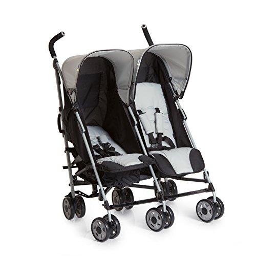 Hauck Turbo Duo Geschwister-/Zwillingskinderwagen, für Babys und Kleinkinder, nebeneinander, ab Geburt nutzbar (mit Tragetasche), schmal, leicht, grau, Schwarz