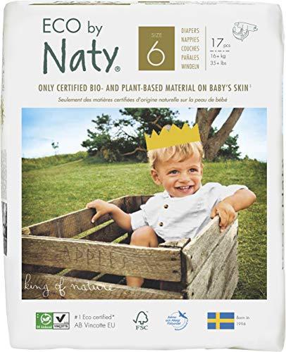 Eco by Naty, Taglia 6, 102 pannolini, 16+kg, fornitura di UN MESE, Pannolino ecologico premium a base vegetale con lo 0% di plastica a base di petrolio sulla pelle.
