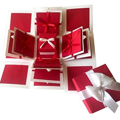 Crack of Dawn Crafts 3 Layered Romantic Explosion Box - Red Love 27