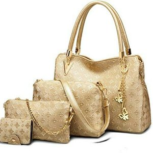 VEZELA-Womens-4Pc-Shoulder-Bags-Crossbody-Bag-Handbag-Pouch-Combo-Set-Golden