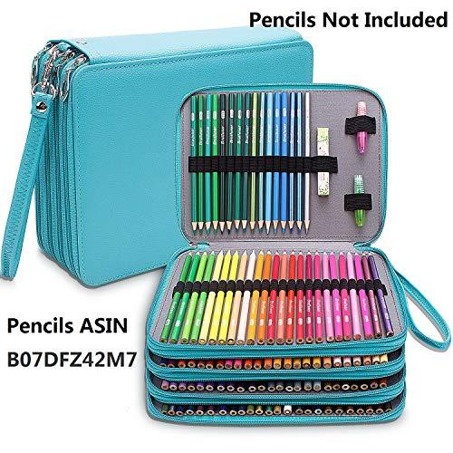 Astuccio grande, in pelle PU, con 184 scomparti per matite colorate, astuccio impermeabile a 4...