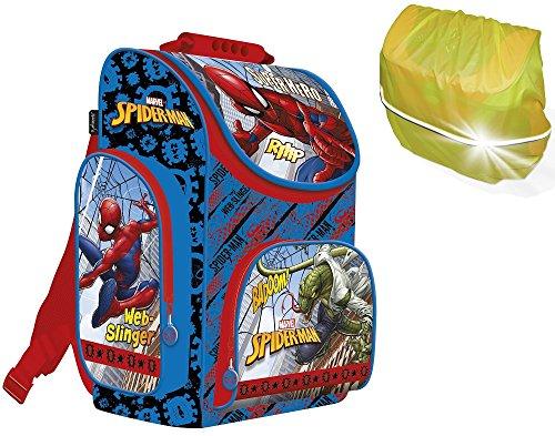 Spiderman Schulranzen Jungen 1 Klasse | Tornister Schulrucksack Schultasche | Set 2 teilig | für Grundschule | super leicht | inkl. Regenschutz von SCOOLSTAR