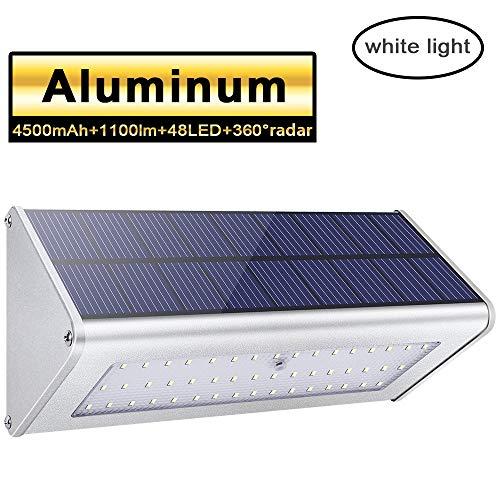 Licwshi Luci solari 1100lm 4500mAh esterna impermeabile lega di alluminio Housing, 48LED radar...