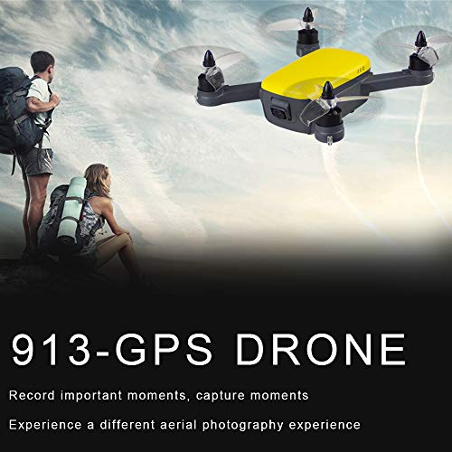 RONSHIN RC Toys Multirotor 913 GPS 5G WiFi FPV con 1080P HD Camera Altitude Hold Mode Brushless RC Drone Quadcopter RTF Giallo