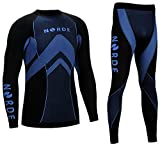 THERMOTECH NORDE Functional Thermal Underwear Breathable Active Base Layer SET (Black/Blue, XXL)