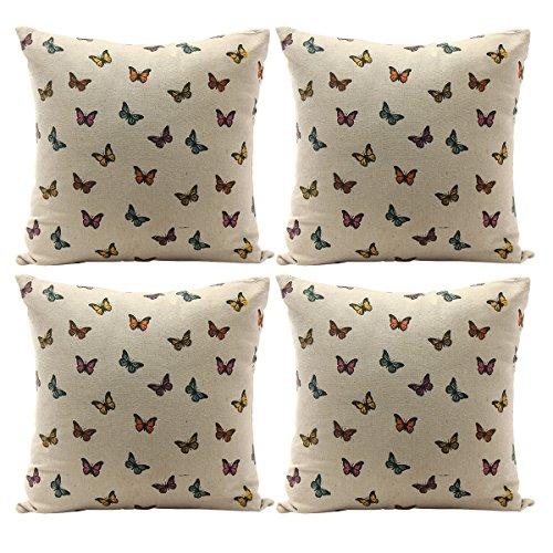 Luxbon Conjunto de 4 Funda Cojín Almohada Lino Duradero Mariposas Colorido Decorativos para Sofá Cama Coche 45x45 cm