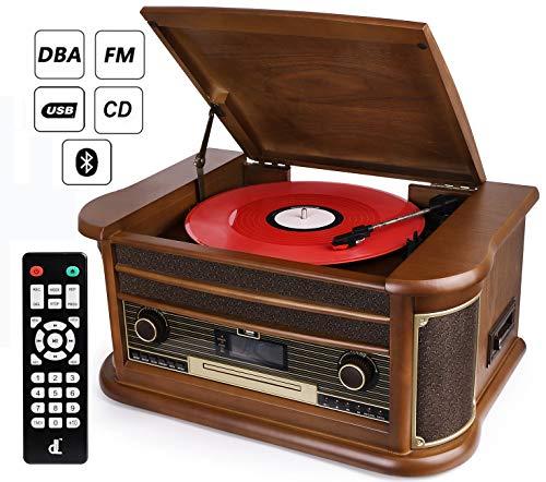 D&L 7-in-1 Giradischi DAB Legno D'epoca con Bluetooth, Radio FM, Costruito dentro Altoparlanti...