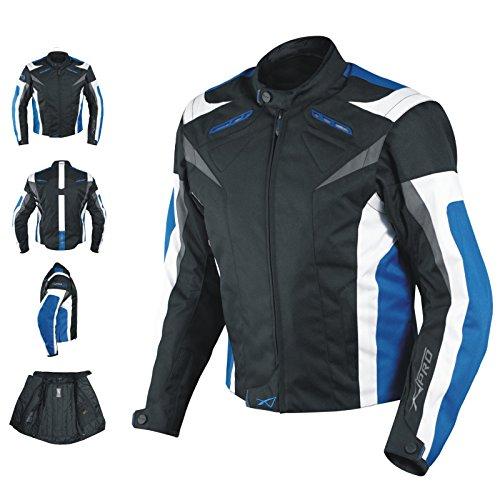 A-Pro Giacca da motociclista XL con protezioni CE, in tessuto, fodera termica, blu