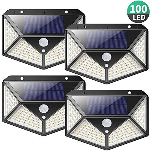 Luce Solare LED Esterno,【2200mAh-Risparmio Energetico】100LED Lampade Solari Sensore di Movimento...