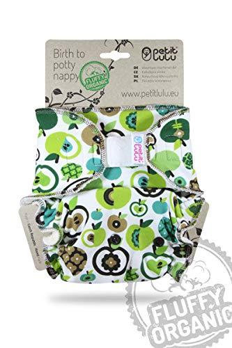 Petit Lulu Pannolino Mutandina Bambù Maxi Fitted Notte   Hook & Loop   Fluffy Organic   Pannolini di stoffa   Riutilizzabile e lavabile     Pannolini lavabili   Prodotto in Europa (Apples (green))