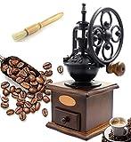 Fecihor Molinillo de Café Manual, Madera Molinillo de Granos de café Máquina del Grano de Café del Estilo del Vintage con Rutina