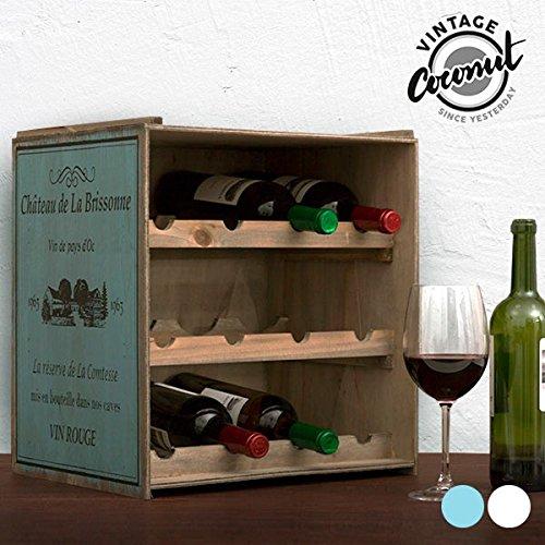 Unbekannt Contenitore per Bottiglie di Vino, di Colore Scuro, scaffale per Vino, armadietto da Cucina in Stile Vintage Consumato, Shabby Chic