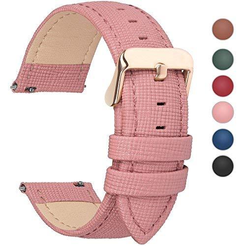 Fullmosa 6 Colori per Cinturini di Ricambio, Cross Pelle Cinturino/Cinturini/Braccialetto/Cinturino di Ricambio/Cinturino per Watch/Orologio 14mm 16mm 18mm 20mm 22mm 24mm,14mm Rosa