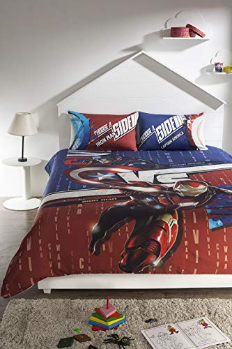 DDECOR Live beautiful 210TC Cotton Kids Double Queen Size, Captain America Bedsheet with 2 Pillow Covers (Red)