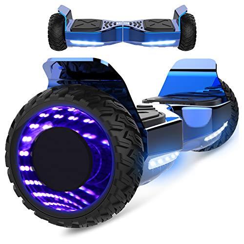 Markboard gyropode Hummer 6.5 Pouces, Gyropode SUV Tout-Terrain, avec Bluetooth et LED, Smart Scooter Électrique Auto-équilibrage EL-ES06(Bleu)