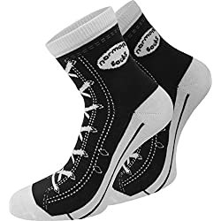 4 Paar Baumwoll Socken im Chucks - Design Farbe Schwarz Größe 39/42
