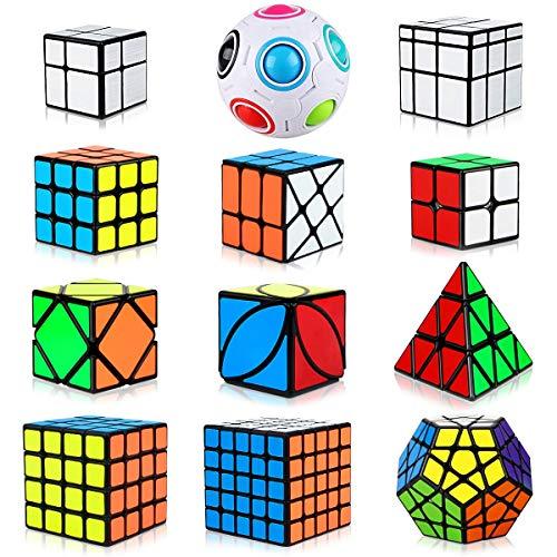 Cubo Magico Speed Cube Set 12 Pack, Triangolo Piramide Pyraminx Cubo Puzzle 2x2 3x3 4x4 5x5 Megaminx...