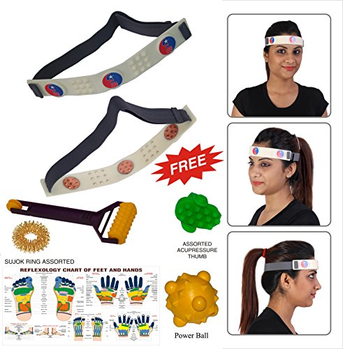 Head Belt & Head Roll for Headache Migraine Dizziness - Safe & Natural Effective - FREE Acupressure Health Products