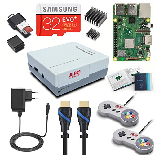V di Kits Raspberry Pi 3Model B + (B Plus) Retro Arcade Gaming Kit con 2classici USB controllern (edizione francese)