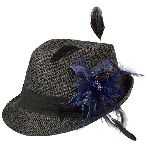 Alpenflüstern Damen Strohhut Trachtenhut schwarz mit Feder-Clip ADV03000060 blau