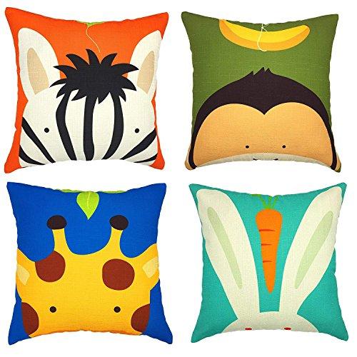 Gspirit 4 Pack Bambini Carina Cartone Animato Animale Cotone Biancheria Decorativo Gettare Cuscino...