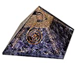 Aatm Energized chakra Reiki guarigione 4side Coper Coil ametista Orgone Pyramid con trasparente cristallo gemma rame metallo/EMF della meditazione yoga generatore di energia