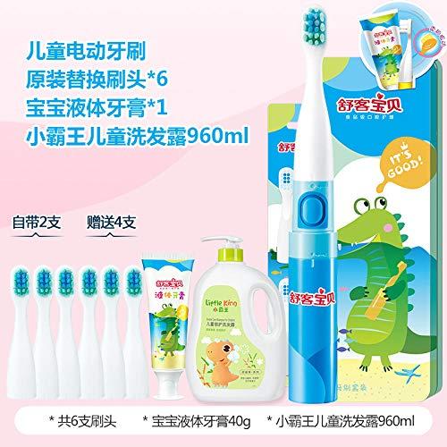 Spazzolino da denti elettrico per bambini Spazzolino elettrico Capelli morbidi 3-6-12 anni Impermeabile automatico Bambino-Coccodrillo (6 testine + Shampoo per bambini)