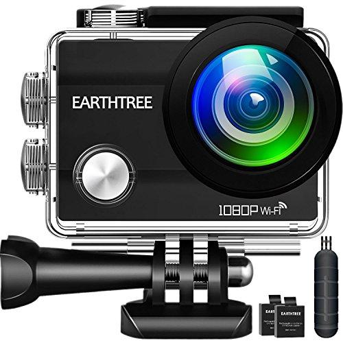 Earthtree Sport Action Kamera, 1080P Full HD WIFI Sports Cam 2.0 Zoll Bildschirm 170°Weitwinkel 30 MeterUnterwasserKamera Helmkamera Wasserdicht mit 2 Akku und Kostenloses Zubehör