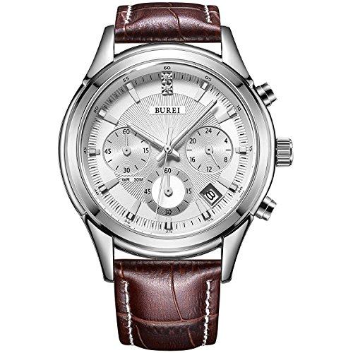 BUREI Herren Uhren Chronograph Zifferblatt Sport Stil weichen Lederarmband (Silber)