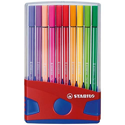 Pennarello Premium - STABILO Pen 68 Colorparade in Rosso - Astuccio da 20 - Coloriassortiti