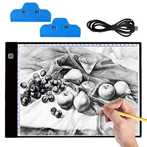 Hisome 5D Lavagna Luminosa Ultra Sottile LED, Ultrasottile 3,5 mm A4 USB Tablet Tracer per Disegno,...
