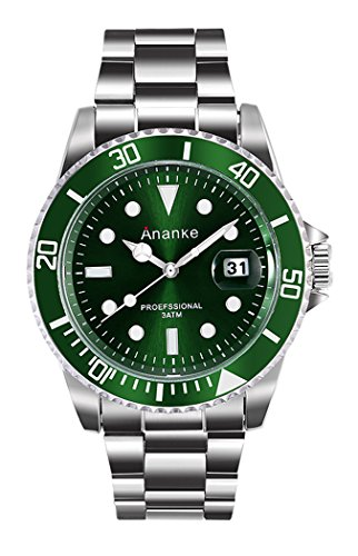 Men's Business Casual 30M Waterproof Wristwatch Quartz Analog Stainless Steel Case Wrist Watch Fashion Green/Blue/Black Dial With Date For Man