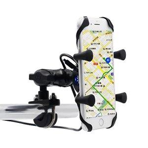 Samoleus Motorrad Telefon Halter Fahrrad Handyhalter Aluminium Mount Halterung mit USB Ladegerät für Motorrad Fahrrad GPS (Motorrad Telefon Halter) 2