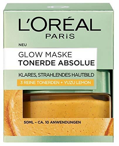 L\'Oreal Paris Tonerde Absolue Gelbe Glow Maske, mit Yuzu Lemon, reinigt intensiv, für ein klares und strahlendes Hautbild, 50 ml