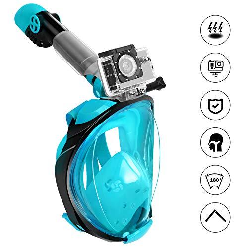 Fenvella 2019 Maschera Subacquea, Maschera Snorkeling Integrale 180° Vista Panoramica, Anti-Appannamento Anti-Perdita Easybreath Sub Maschera per Uomo Donna (Verde, L/XL)