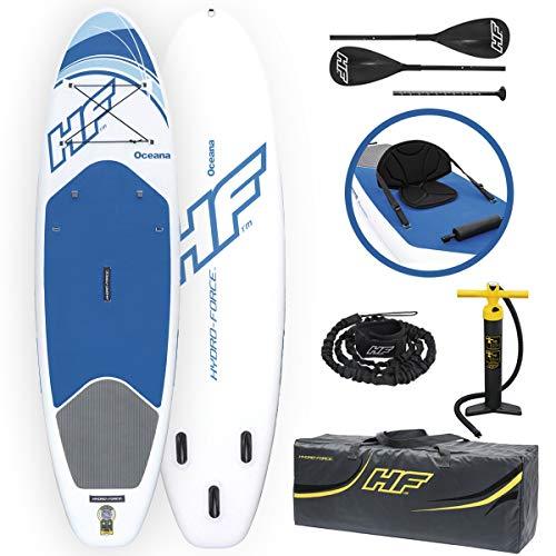 """Bestway 65303 Hydro-Force Oceana - Tablas inflables de pie con remo de aluminio, blanco y azul 305x 84x 12cm (10' x 33"""" x 4.75"""")"""