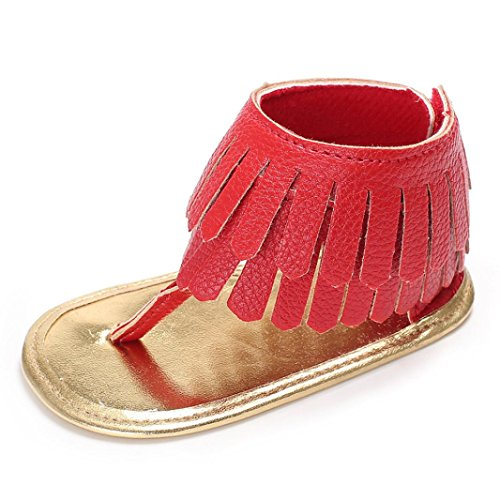 BYSTE Scarpe da Bambino Scarpe da Culla Fondo Morbido Sandali Bambini Neonato Ballerine Piatto Antiscivolo Scarpe Romane Scarpine Primi Passi 0-18 Mesi (6-12 Mesi, Rosso)