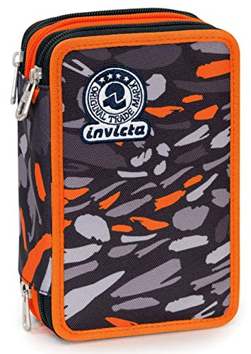 Astuccio 3 Zip Invicta Art, Nero, Con materiale scolastico: 18 pennarelli Giotto Turbo Color, 18...