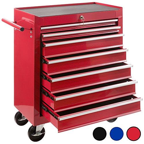 Arebos Werkstattwagen 7 Fächer/zentral abschließbar/Anti-Rutschbeschichtung/Räder mit Festellbremse/Massives Metall/rot, blau oder schwarz (Rot)