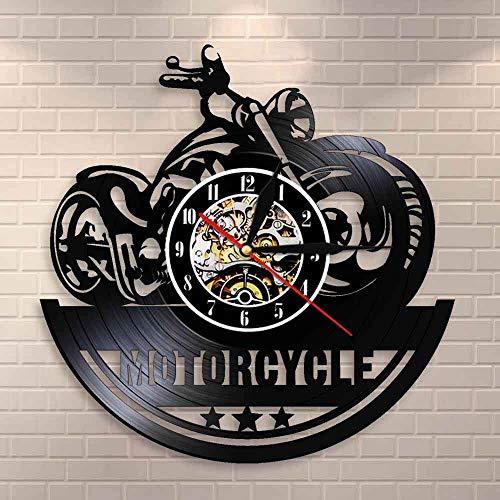 CVG American Classic Moto Wall Art Orologio da Parete Garage Segno Moto Vintage Vinyl Record Orologio da Parete Uomo Cave Decor Bikers Gift