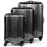 FERGÉ ® set di 3 valigie viaggio Dijon - bagaglio rigido dure leggera ABS & PC duro tre pezzi valigetta 4 SPINNER ruote grigio