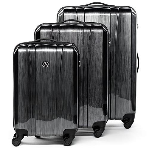 FERGÉ Set di 3 valigie viaggio Dijon - leggero bagaglio rigido dure da 3 ABS & PC duro tre pz....