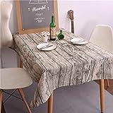 prevently marca Alta calidad moda Vintage grano de madera rectangular rústico mantel (lino y algodón lavable funda para mesa, marrón
