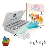 Cake Decorating 50 Piece Set. Stainless Steel Piping Nozzles Tips, 2 Reusable Piping Bags, 2 Couplers, 10 Disposable Piping Bags, 4 Silicone Cupcake Moulds, Storage Case. E-Book Included.