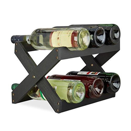 Relaxdays Porta bottiglie vino bambù a forma di X 6 bottiglie cantinetta piccola pieghevole HLP...