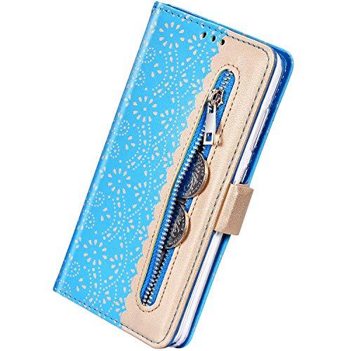 Herbests Kompatibel mit Samsung Galaxy S10 Handy Hülle Blumen Muster Multifunktionale Reißverschluss Leder Hülle Standfunktion Stoßfest Schutzhülle Klapphülle Kartenfach Magnet,Blau