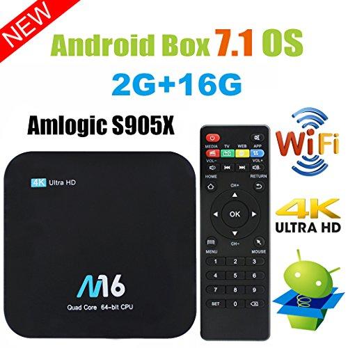 TV Box Android 7.1 - VIDEN Smart TV Box Amlogic S905X Quad-Core, 2GB RAM & 16GB ROM, Video 4K UHD H.265, Bluetooth 4.0, 2 Porte USB, HDMI, WiFi Web TV Box + Telecomando